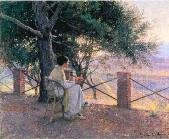 At sunset, 1891 - Elin Kleopatra Danielson - Gambogi (finsk, 1861-1919)