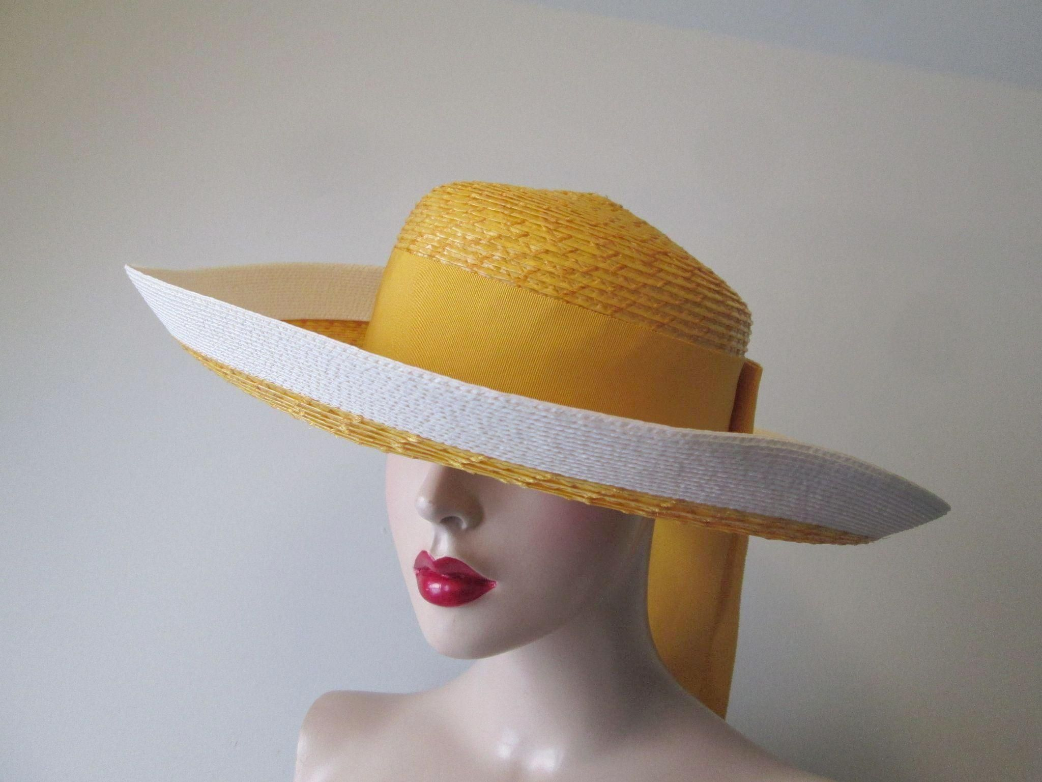 69688b83535 Yves Saint Laurent Sun Hat Vintage 1960s Yellow White Straw Wide Brim