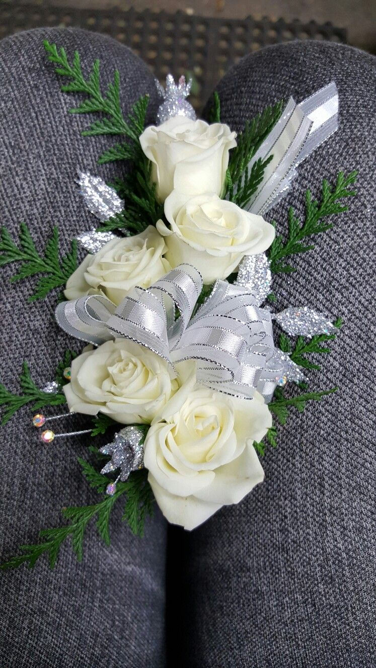 White and silver flower corsages for wedding and pronm my corsages white and silver flower corsages for wedding and pronm mightylinksfo