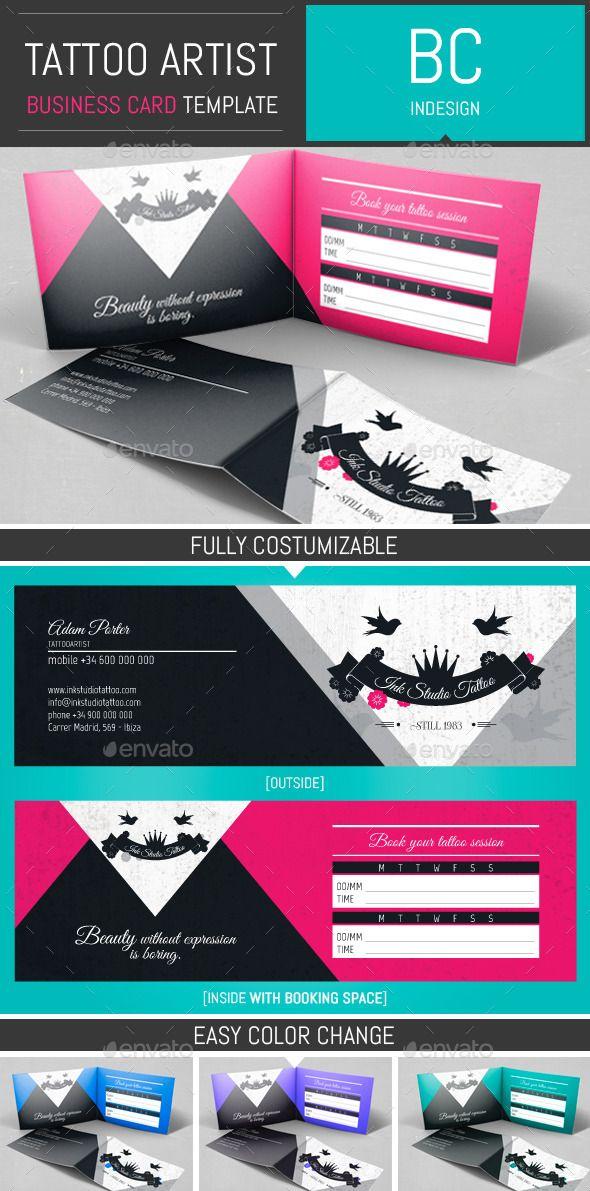 tattoo artist folded business card template tattoo pinterest