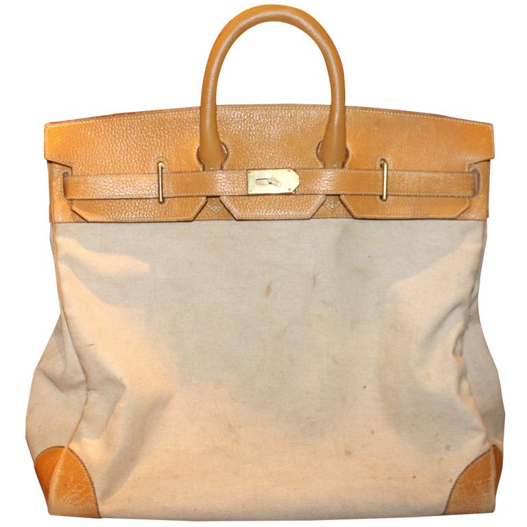 736e6dd07b Heritage Vintage  Hermes 55cm Toile   Vache Naturelle HAC Travel Birkin Bag  with Palladium Hardware