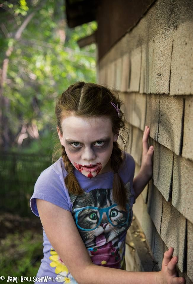 Zombie child girl apocalypse makeup horror costume poses photography scary more