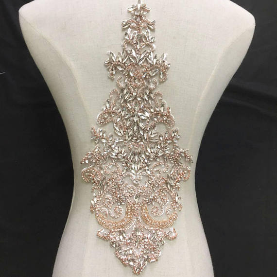 Deluxe Rhinestone Beaded Bridal Bodice Applique in Gold  338cd598a01a