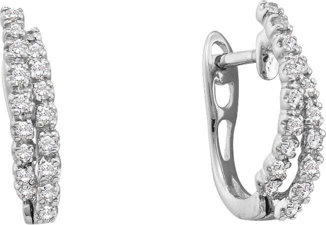 14KT White Gold 0.25CTW ROUND DIAMOND LADIES FASHION HOOPS EARRINGS