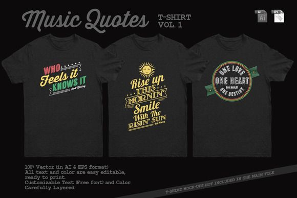047d8b5391f0 Music Quotes T-Shirt Template Vol. 2 by Rooms Design Shop on Creative Market