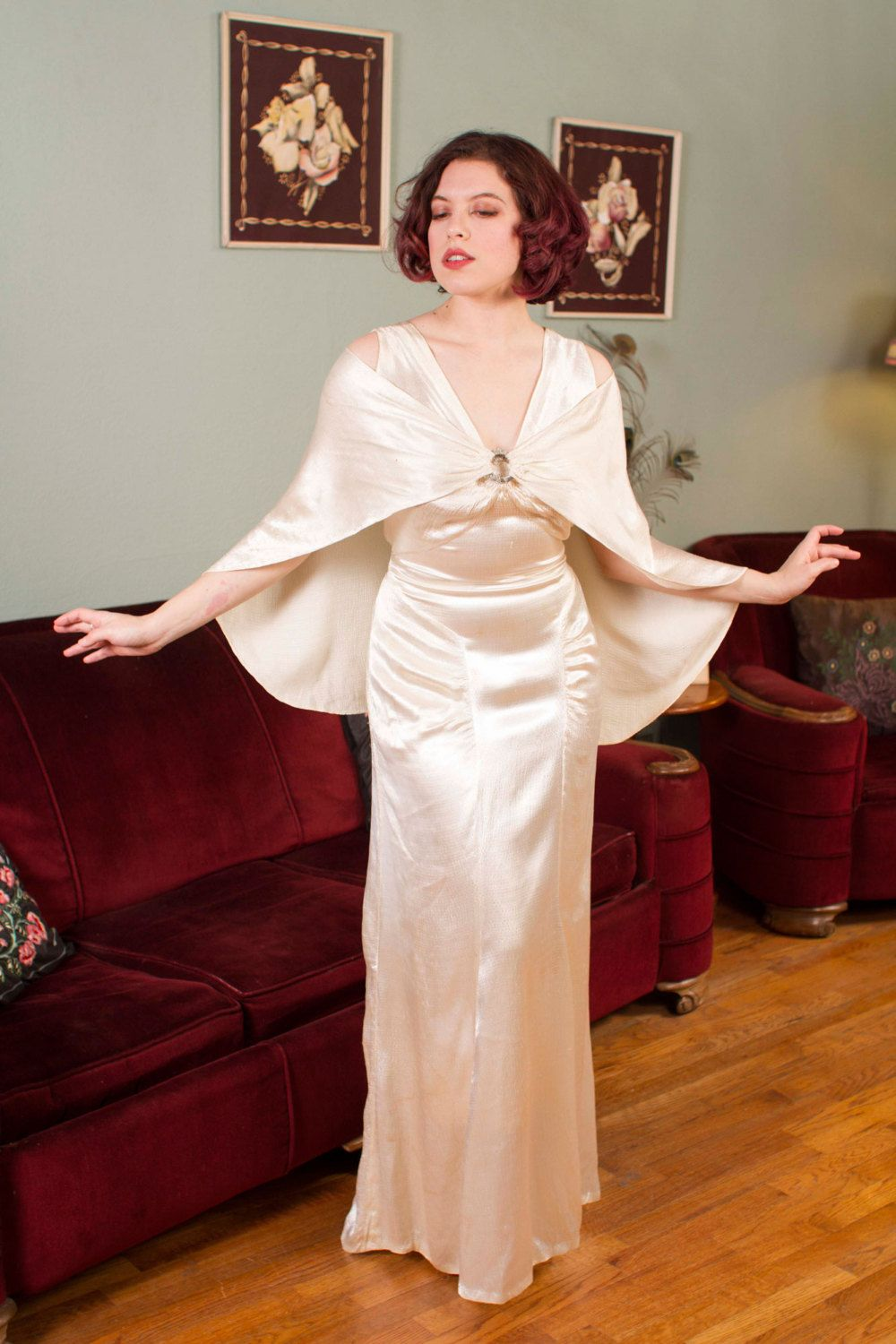 1930s style wedding dresses  Vintage s Wedding Gown Old Hollywood Ivory Satin by FabGabs
