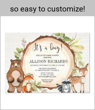 Its a boy rustic woodland animals baby shower invitation