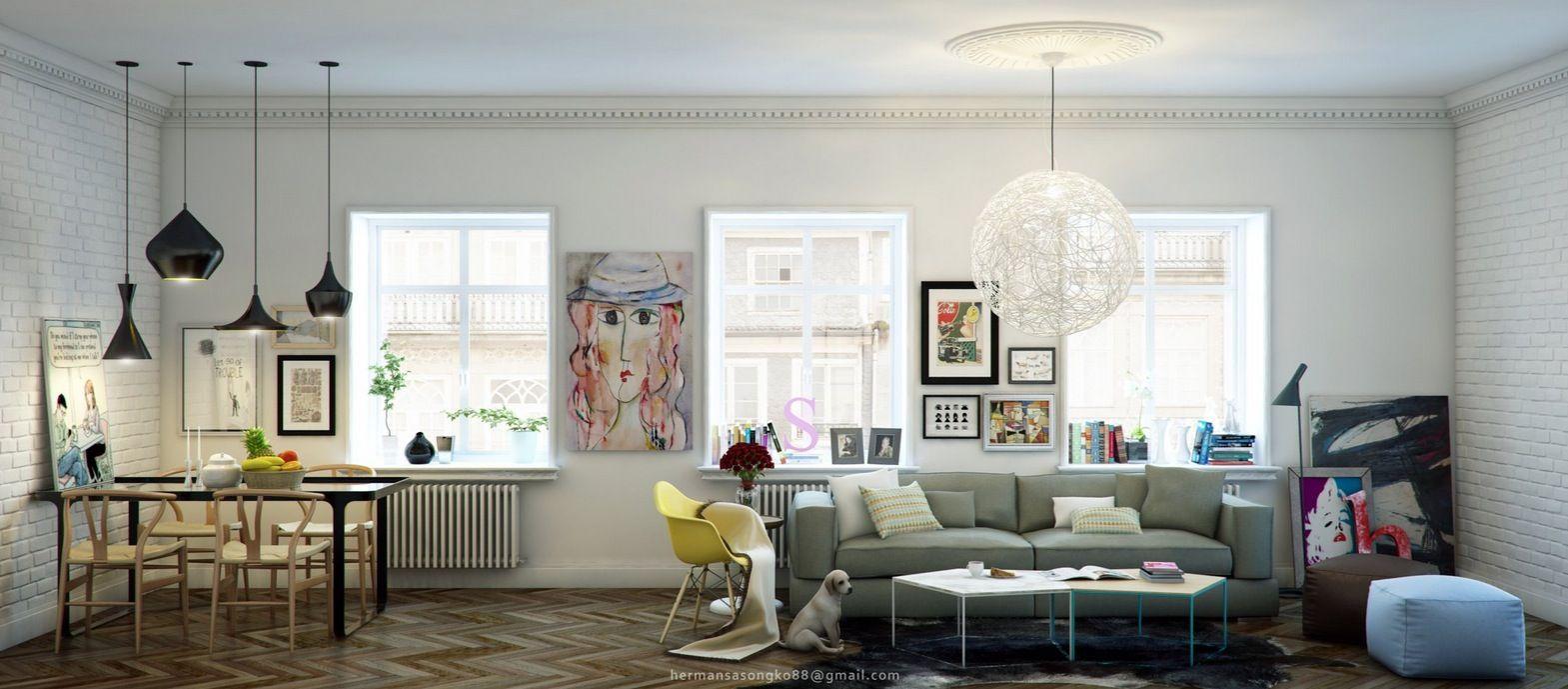 Living room diner - white bicks, white walls, great pendant lights ...