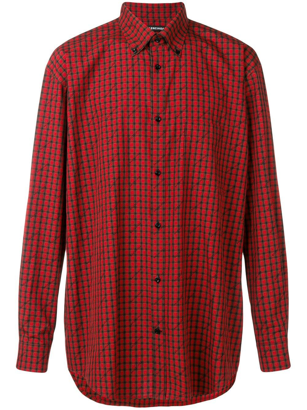 b75b3c3d1308 BALENCIAGA BALENCIAGA CHECK LOGO SHIRT - RED. #balenciaga #cloth ...