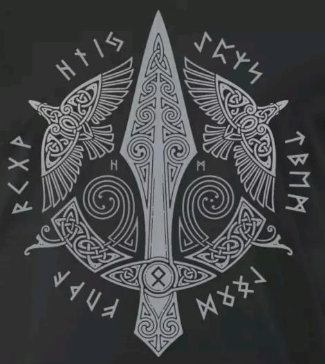 GUNGNIR - Odins Speer. Raben - Hugin und Munin. Futhark - Runenring der L ... - #der #Futhark #GUNGNIR #Hugin #Munin #Odins #Raben #Runenring #Speer #und #vikingsymbols