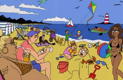 cartoon beach scene illustration spa 2 4 5 pinterest beach scenes rh pinterest com cartoon beach scenes images cartoon beach scene with people