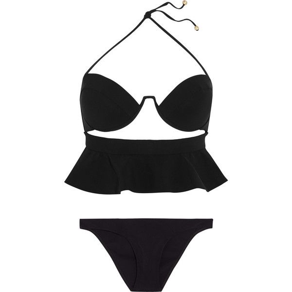 Zimmermann Anais ruffled bandeau bikini (€325) ❤ liked on Polyvore featuring swimwear, bikinis, swimsuits, black, underwire swimsuits, black bikini swimsuit, padded bandeau bikini, underwire bras and black bikini