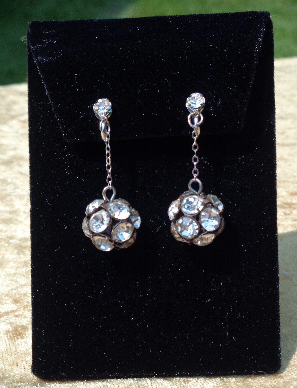 Rhinestone Earrings Jewelry Dangle Elegant Vintage Dangling Clip By Crowsnestantiques On Etsy