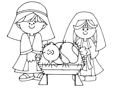 Bewitching image for printable nativity coloring page
