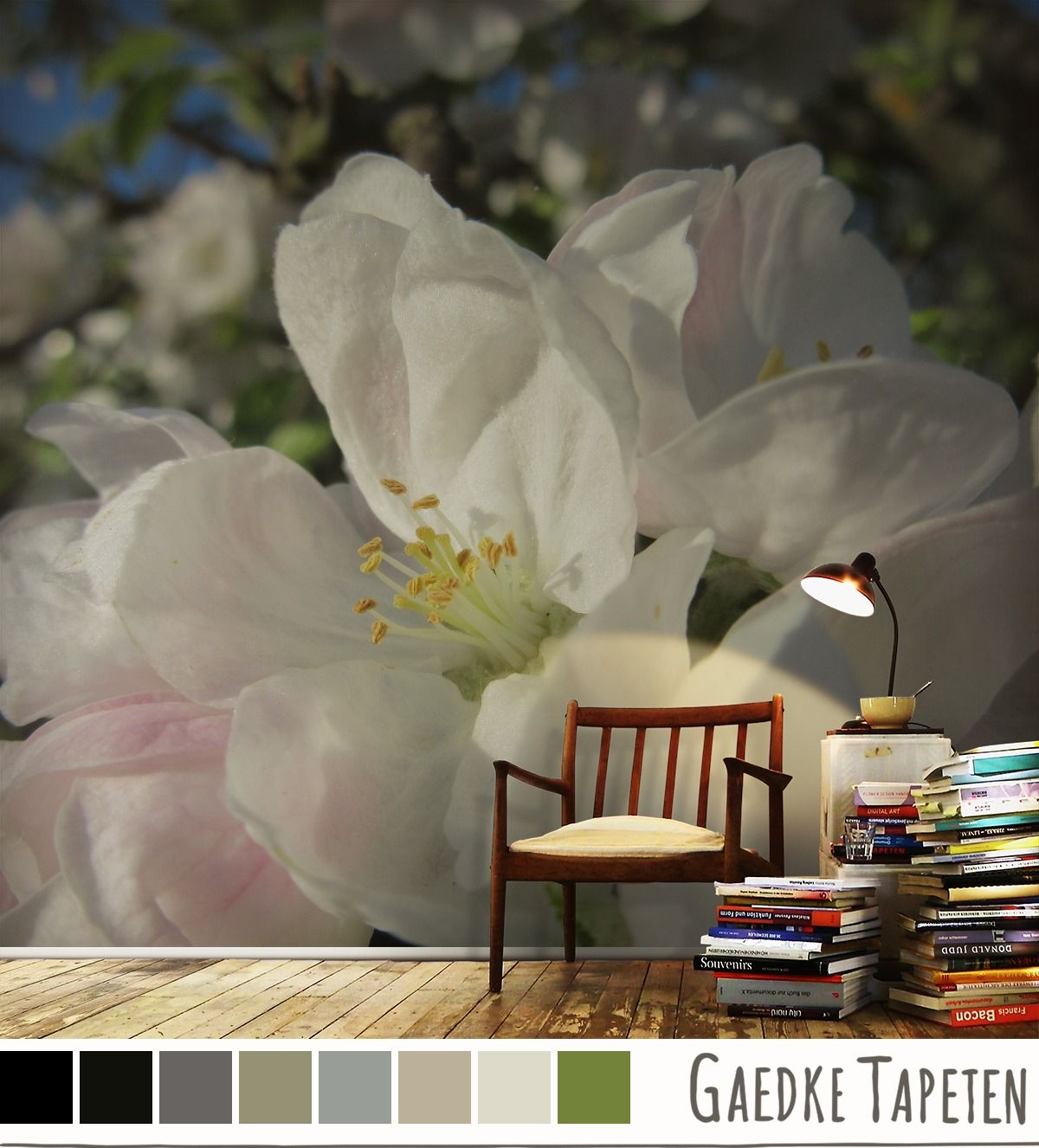 die besten 25 fototapete blumen ideen auf pinterest wandmalereien online paletten. Black Bedroom Furniture Sets. Home Design Ideas