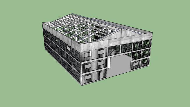 Large preview of 3D Model of Barracão em Steel Frame
