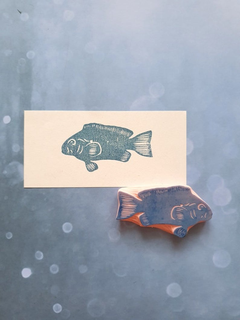 Stamping Scrapbooking Stationary Stationery Snail Mail Stamp Pattern Fish Stamp Fish Rubber Stamp Wood Rubber Stamp Teacher Stamps