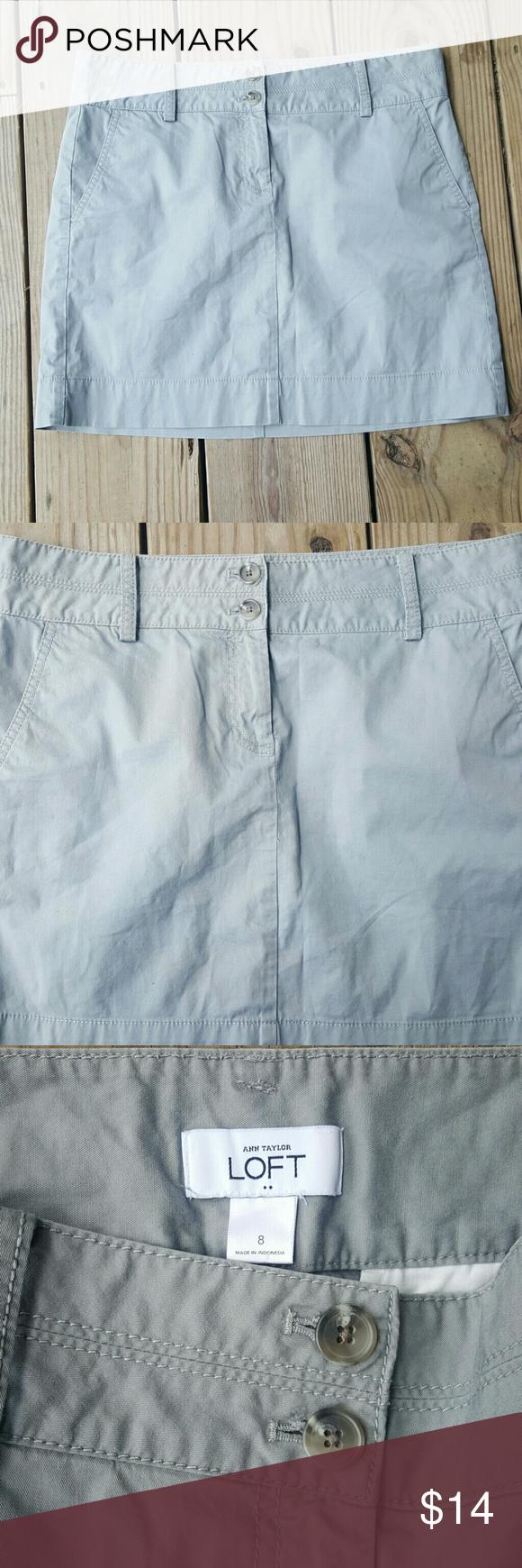 "Ann Taylor LOFT skirt NWOT Gray, cotton/spandex blend, length 17"", size 8, NWOT LOFT Skirts Midi"