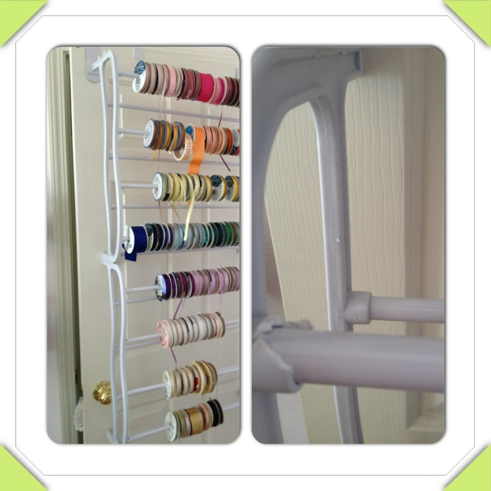 Repurposed Over The Door Shoe Rack As Ribbon Holder Worked Better