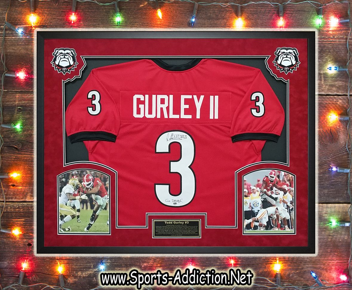 Autographed And Custom Framed Todd Gurley Georgia Bulldogs Jersey What A Statement This Will Make In Any Man Cave Framed Jersey Todd Gurley Georgia Bulldogs