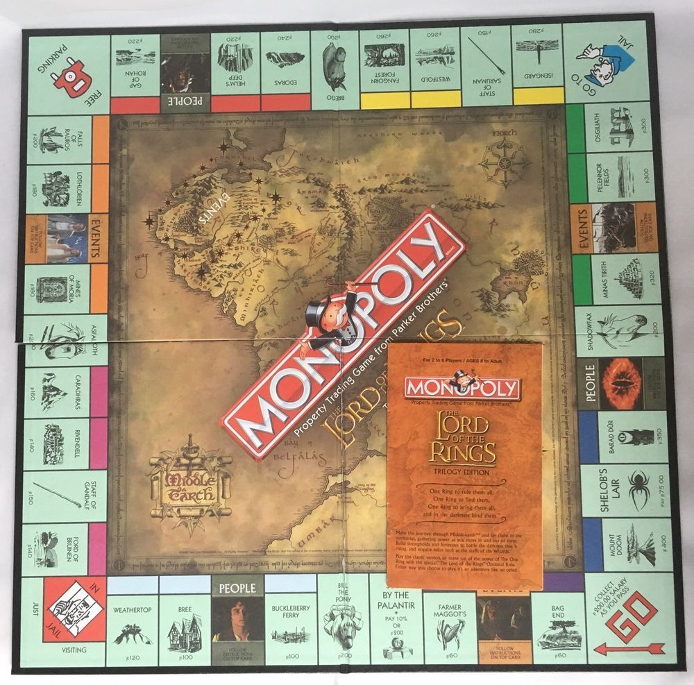 2003 Monopoly Lord Of The Rings Replacement Game Board