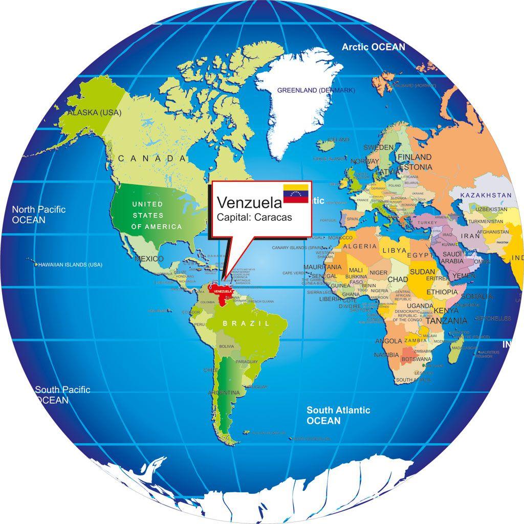 Where Is Venezuela Venezuela Location Maplocation Venezuela - Usa globe map