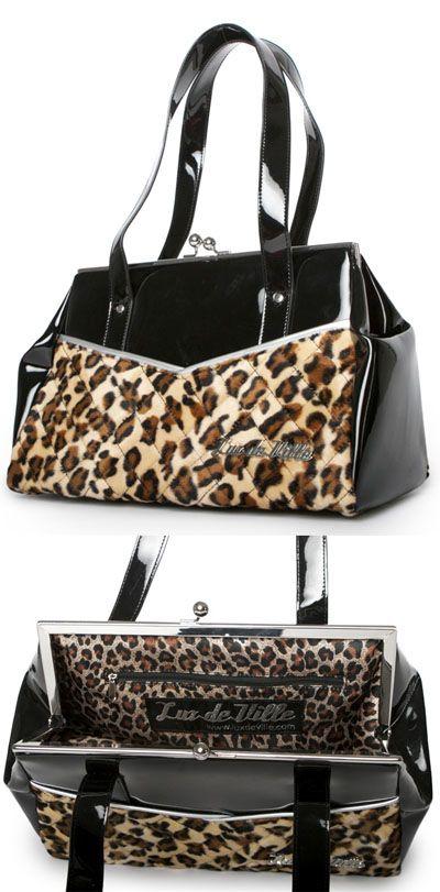 Femme Fatale Kiss Lock Bag By Lux De Ville Black Leopard