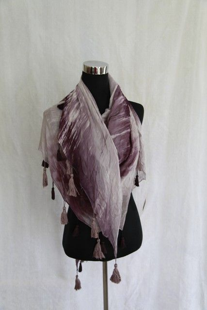 A beautiful purple shades tassel scarf. A very soft and smooth feeling on the skin, a must for anyone's collection.
