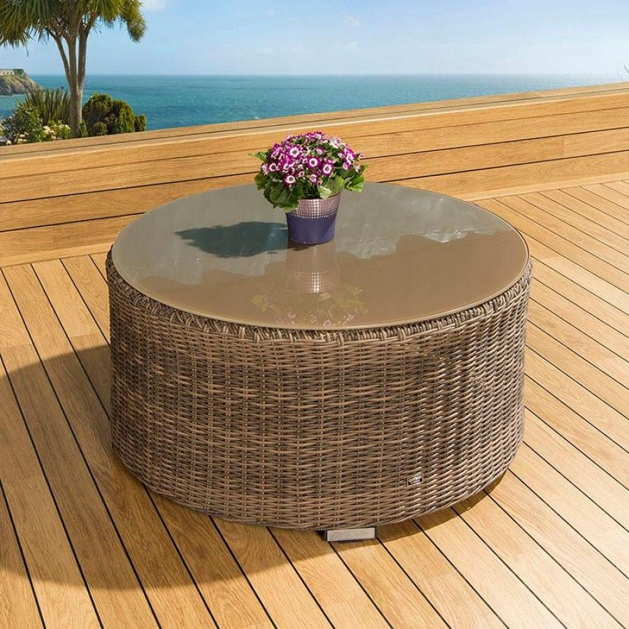 Luxury outdoor garden round coffee table mocha rattan/glass 1.0 ...