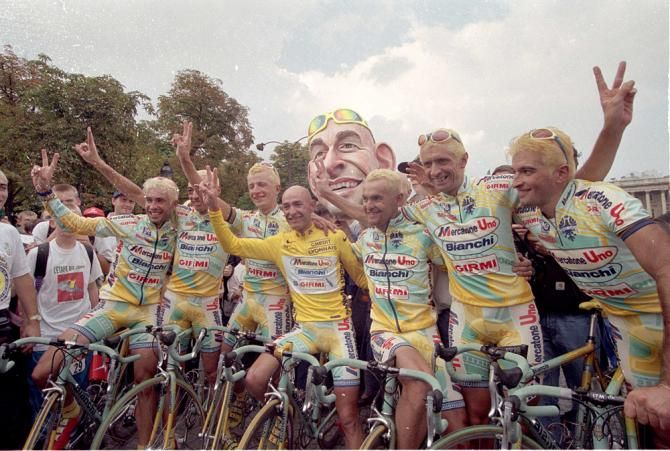 In the 1998 Tour de France, the Mercatone Uno Bianchi team died their hair in honor of overall winner Marco Pantani