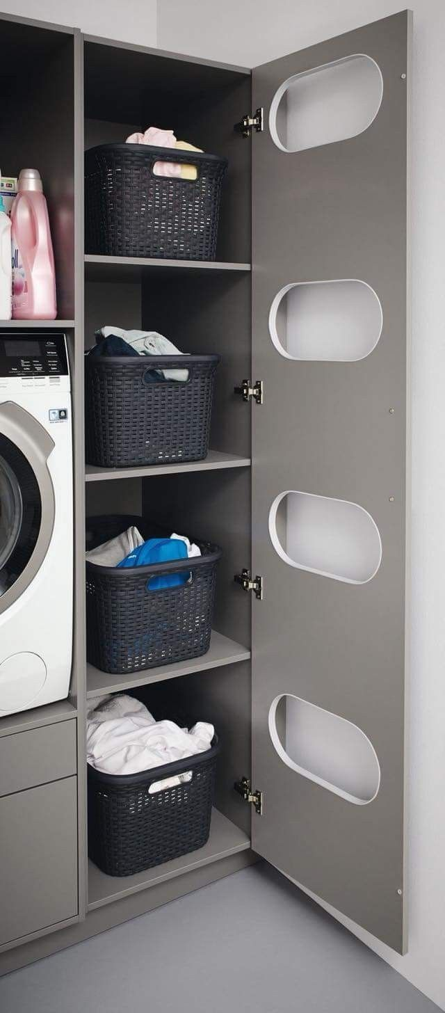 Photo of Hidden but vented dirty laundry shelves
