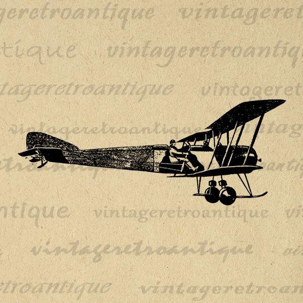 Antique Airplane Digital Image Printable Vintage Plane Graphic ...