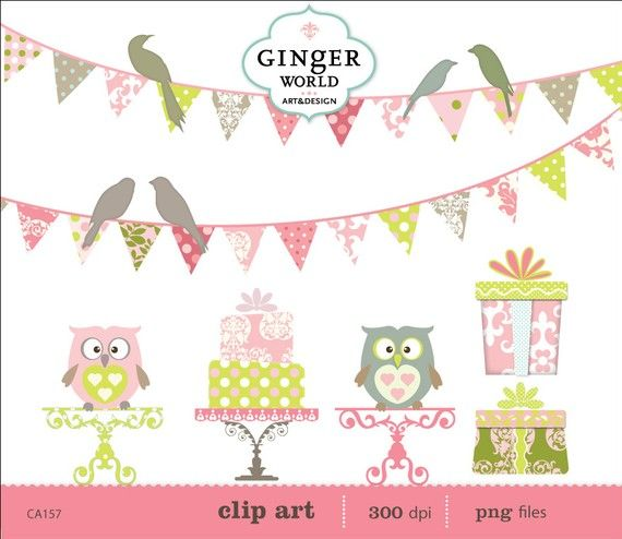 Birds Banners Flags Owls cake gift box party by GingerWorld, $5.50