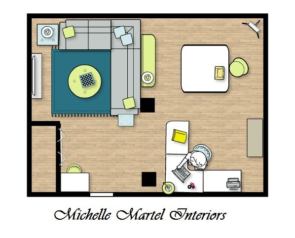 Basement floor plan family room craft room combo j for Craft room design layout