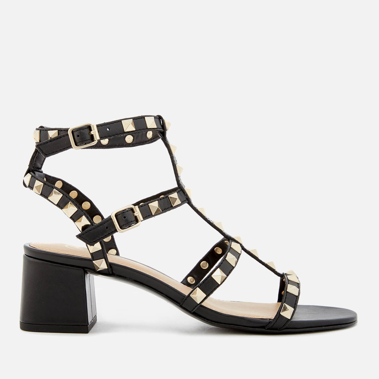 Ash Women's Rolling Studded Blocked Heeled Sandals Black