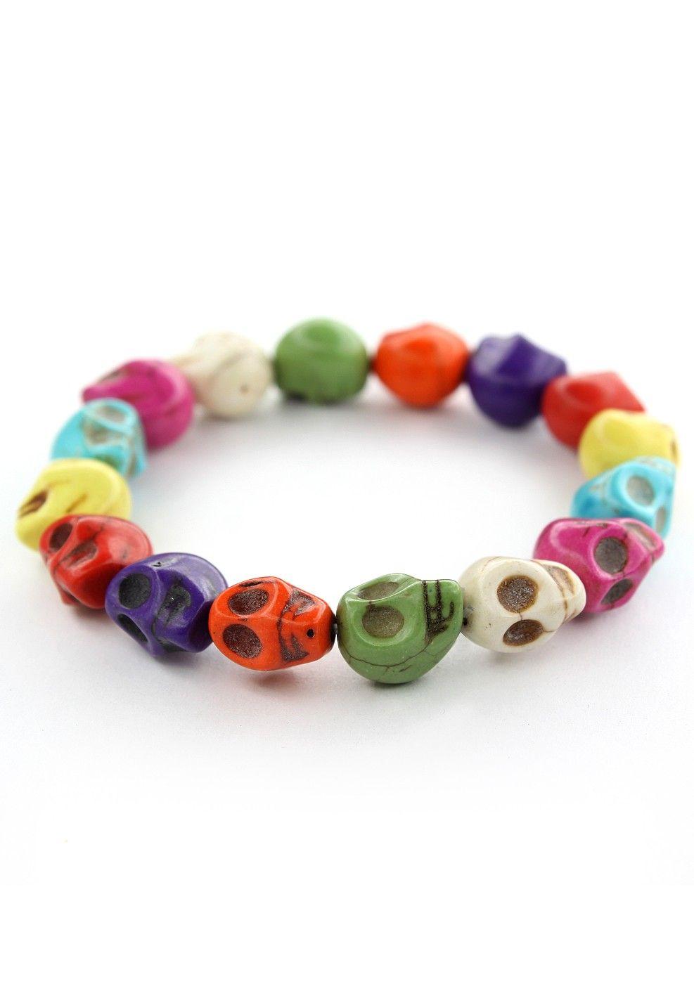 #Chicwish Colorful Skull Bracelet