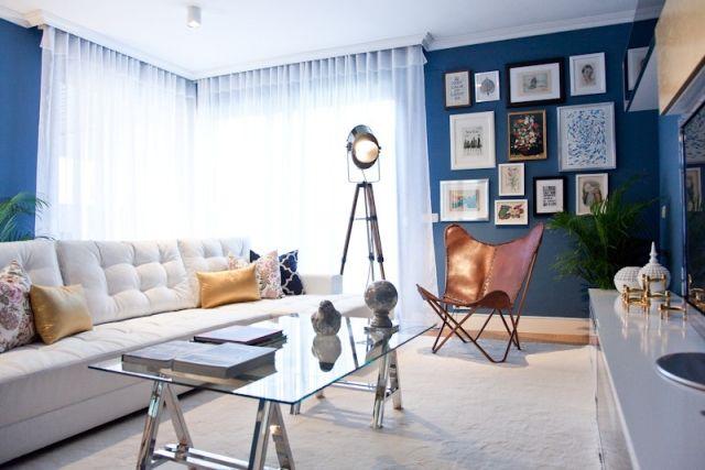 Design Wohnzimmer Farben Blau Wände Streichen Dekoration Ideen  Persönliche Bilder