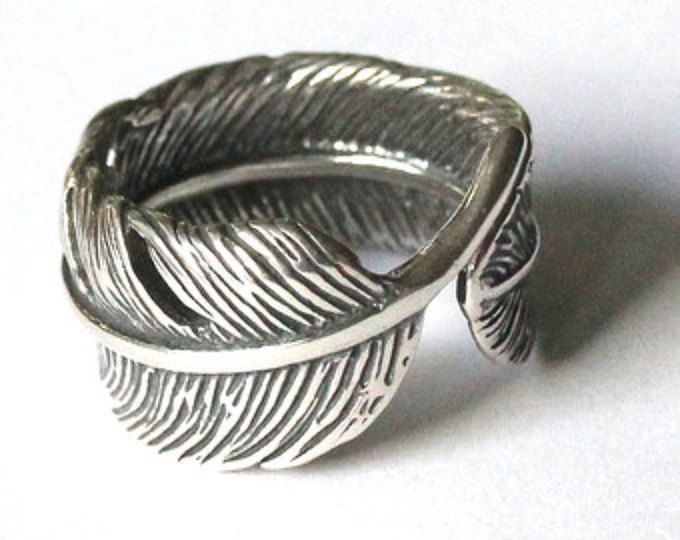 Sterling Silver wrap around feather ring.