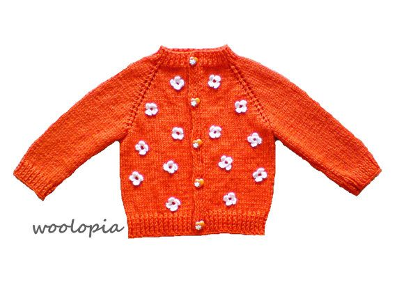 3171385b9 Orange Hand knitted baby cardigan. Hand knitted baby by woolopia ...
