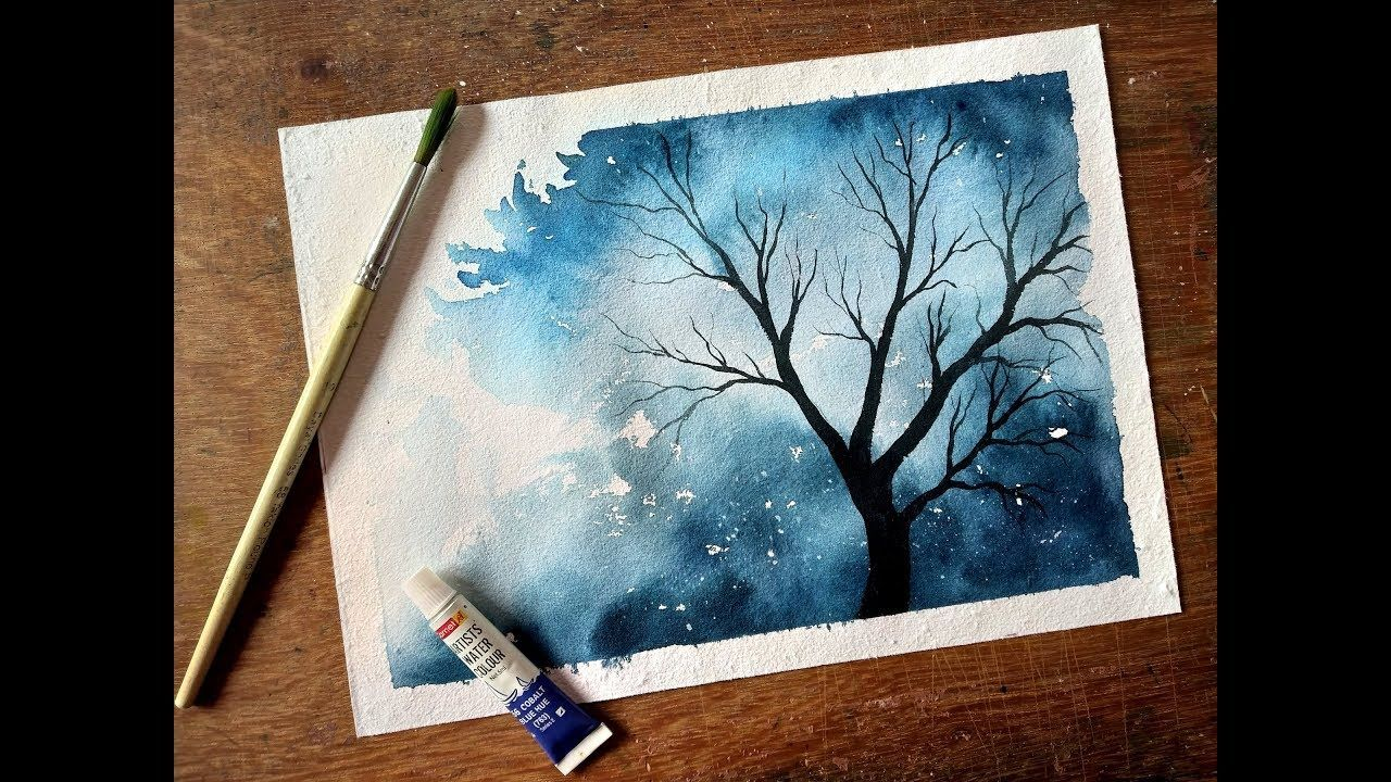 How To Paint A Simple Tree Watercolor Painting For Beginners