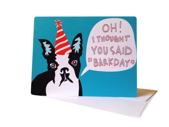 Boston Terrier Birthday Card Printable Happy By Inkandespresso
