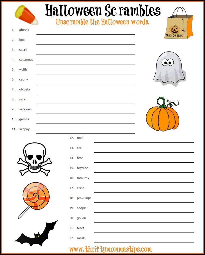 fun halloween word scramble | holidays | halloween, halloween words