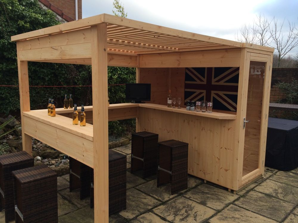 Sports bar with removable security hatch outdoor garden for Garden shed january sale