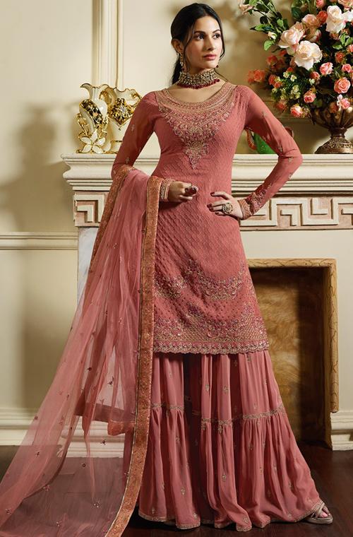83dc730b52 Rose Pink Designer Embroidered Satin Georgette Sharara Suit in 2019 ...