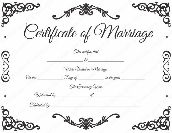 Blank Marriage Certificate Format  Printable Marriage