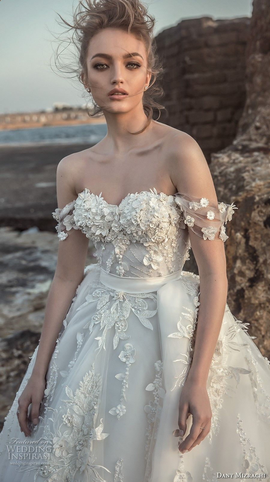 Danny mizrachi bridal off the shoulder sweetheart neckline