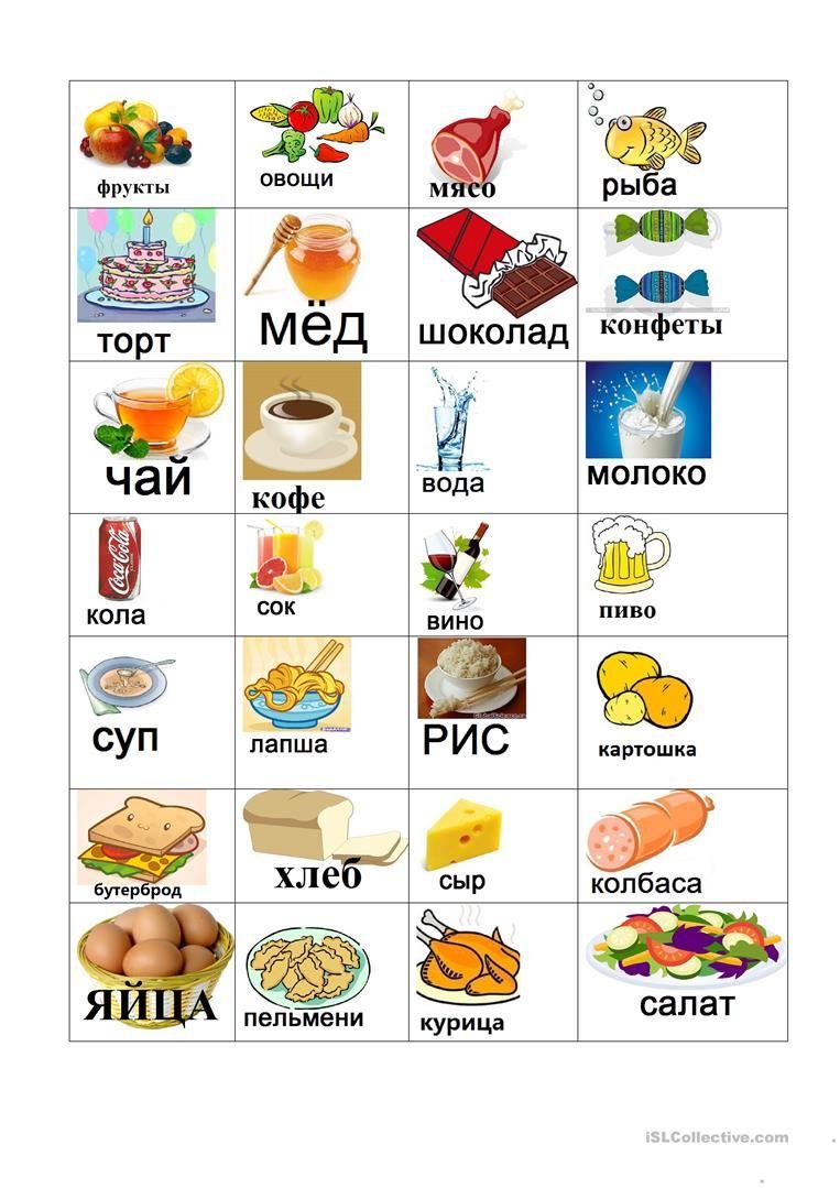 Еда и напитки mатериалы - Беcплатные рабочие листы РКИ ...