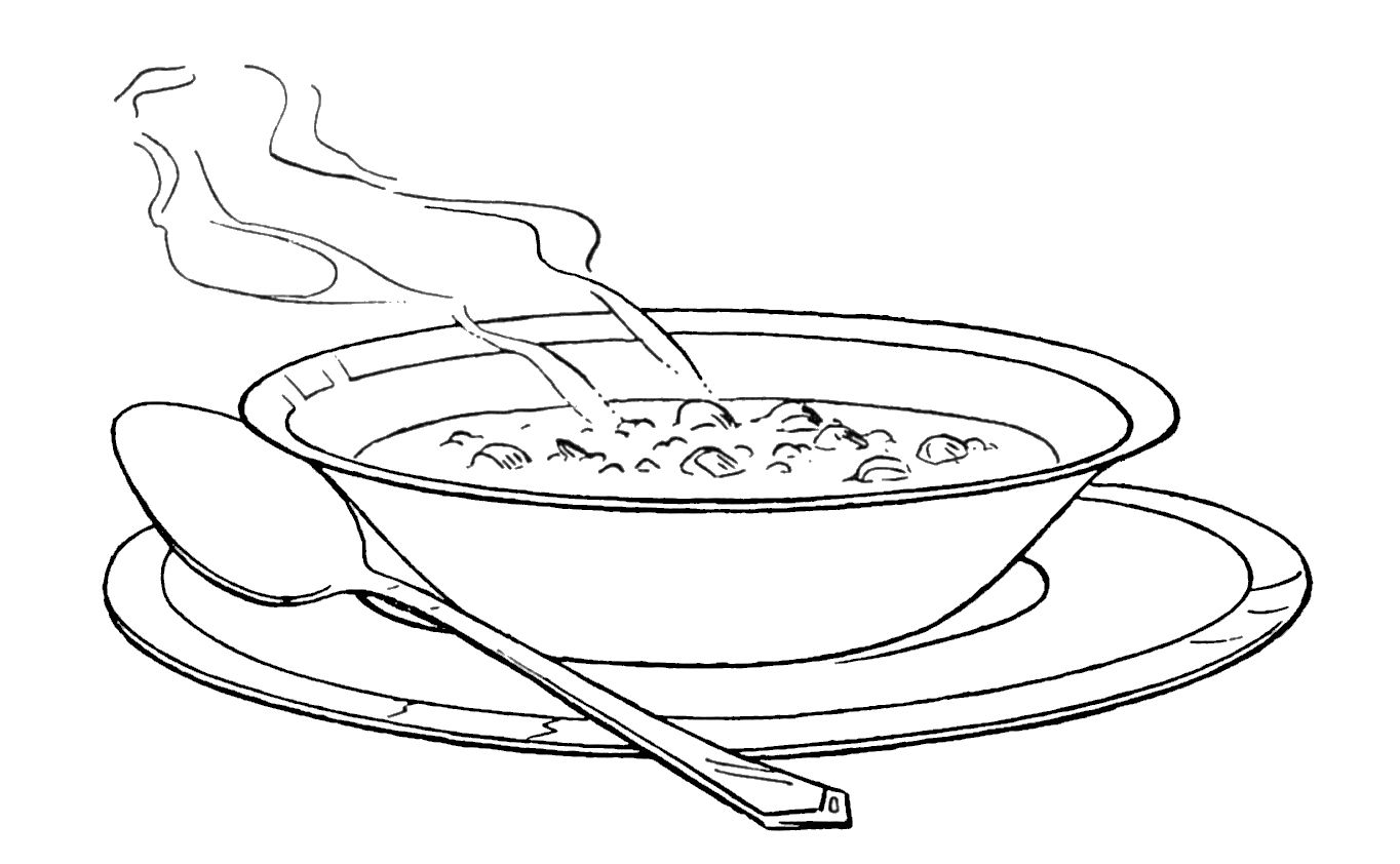 One Serving Of Warm Soup Coloring Pages One Serving Of