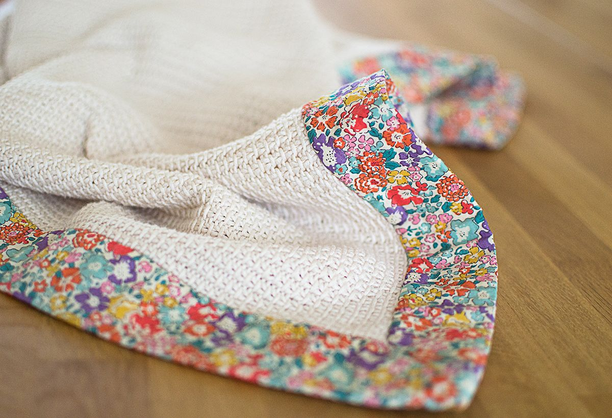 Knitted baby comfort blanket with Liberty Lawn Trim ...