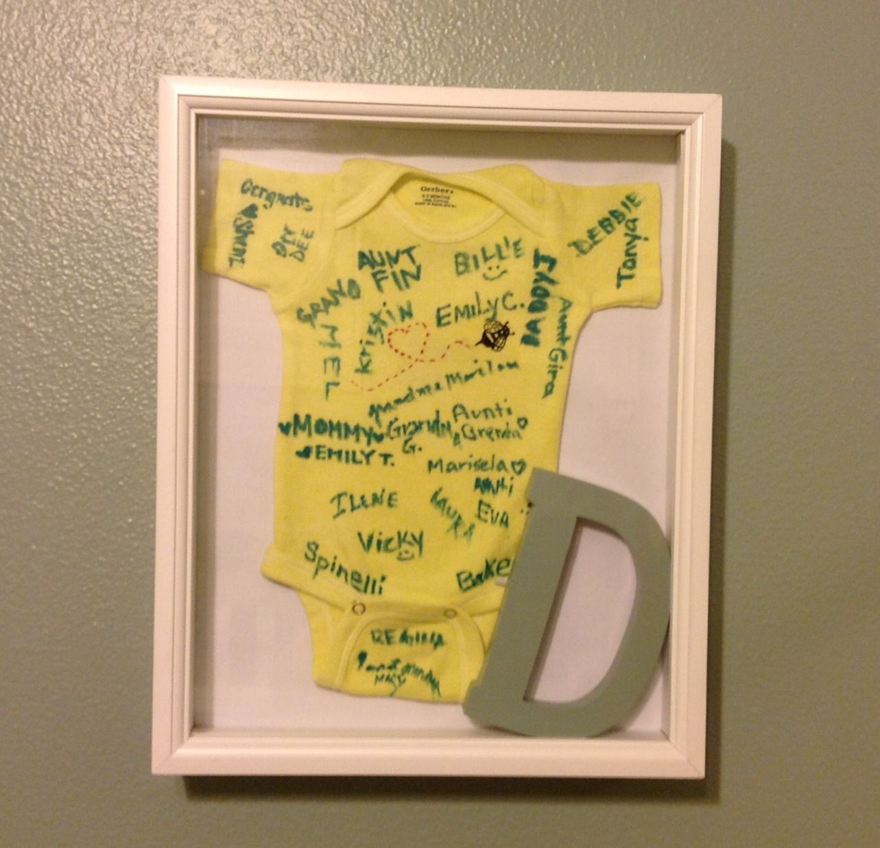 Baby shower gift guests sign onesie put in shadow box with first baby shower gift guests sign onesie put in shadow box with first letter of negle Gallery